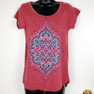 LUCKY BRAND RED BURNOUT TEE SZ S